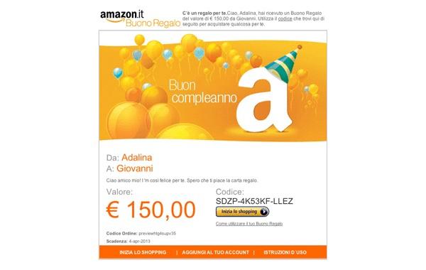 Spendi 40 euro in buoni regalo ricevi un buono for Codici regalo amazon gratis